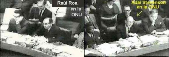 El canciller cubano Raúl Roa y el embajador norteamericano Stevenson en el debate en la ONU Abril de 1961