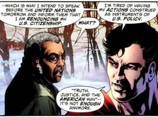 Viñeta del Action Comics 900 en la que Superman 'renuncia' a su nacionalidad