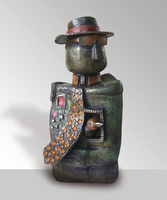 Hombre de corbata, 2010. Bronce-pátina, 100 x 40 x 20 cm