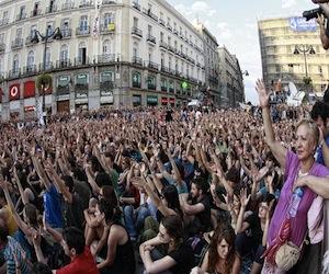 Asamblea en la Puerta del Sol de Madrid