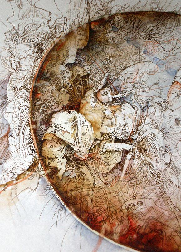 """""""Bordeando el Apocalipsis"""" (fragm.), acuarela, 46,5 x 33 cm, José Luis Fariñas, 2011, Galería de OPUS HABANA"""