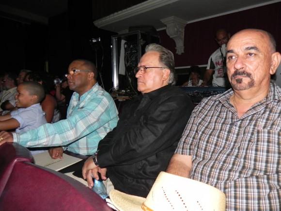 Pancho Amat, Frank Fernández y Adalberto Álvarez miembros del Jurado del Certamen Nacional de interpretación e improvisación sonera en la categoría de Piano. Foto: Marianela Dufflar