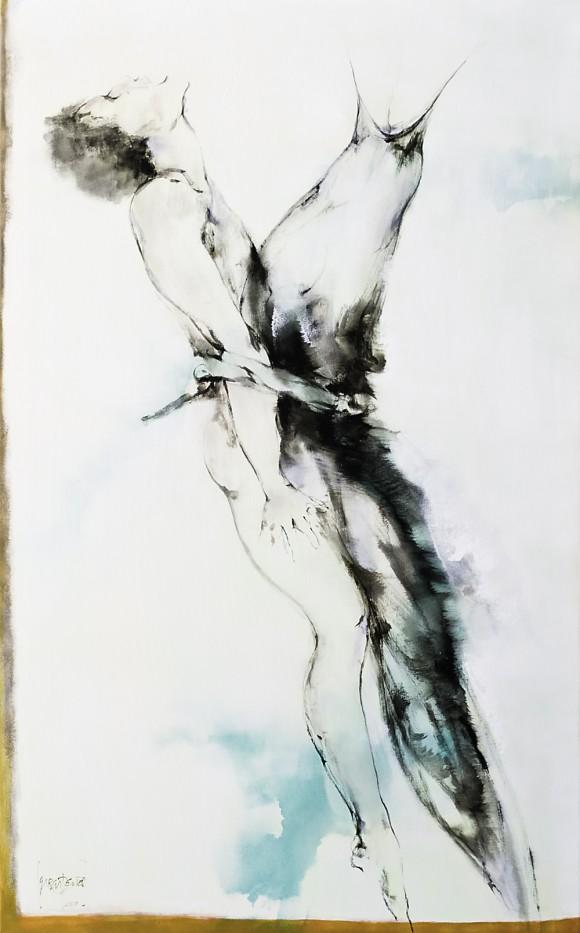 Ernesto García Peña. Para arriba aunque no quieras, 2010. Mixta lienzo 131 x 81