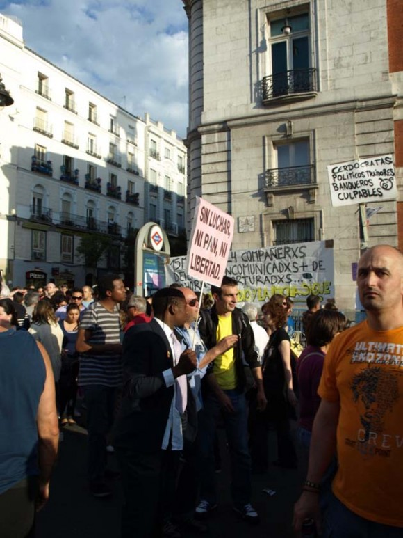 Protesta en la Puerta del Sol, Madrid, España.