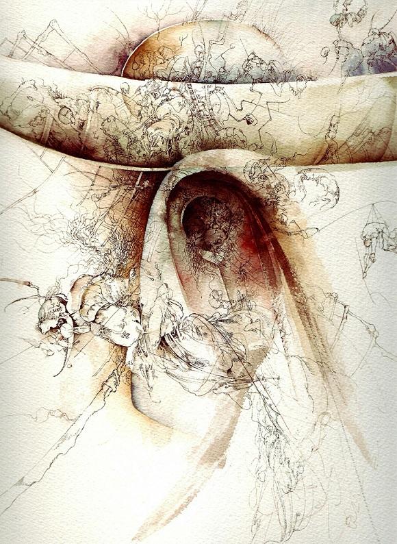 """""""La primera noche"""", de José Luis Fariñas. Acuarela, 30 x 30 cm, 2010. Miyako Yoshinaga Gallery, Chelsea, New York"""