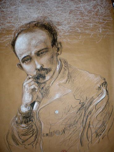 Martí, de José Luis Fariñas. Creyón de óleo, 111 x 87 cm2010