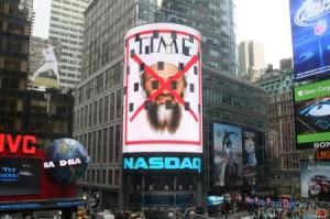 Osama en Times Square. Foto tomada de Cubadebate