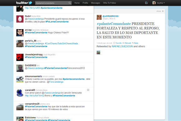 Mensajes para Chávez, vía Twitter