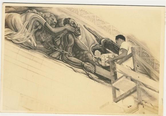 1945, Domingo Ravenet pinta a Prometeo encadenado en la Biblioteca La Universidad de La Habana.