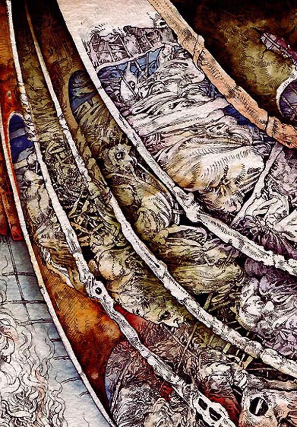 La visión del Teólogo, de José Luis Fariñas, acuarela, fragmento, Ars Liber, Navarra, 2010