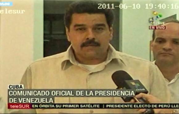 Nicolás Maduro, Ministro de Relaciones Exteriores de la República Bolivariana de Venezuela, leyó el comunicado oficial