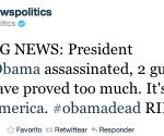 Cuenta de Twitter de Fox News muestra noticia falsa sobre muerte de Obama