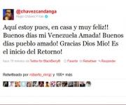 @chavezcandanga comunicó su regreso a Venezuela