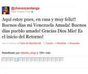 @chavezcandanga anuncia su regreso a Venezuela
