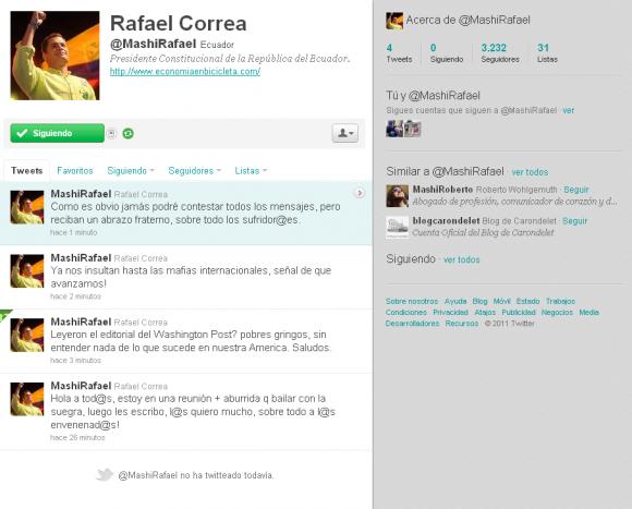 Presidente ecuatoriano Rafael Correa en Twitter