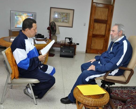 Chávez celebra con Fidel primer gol de la vinotinto