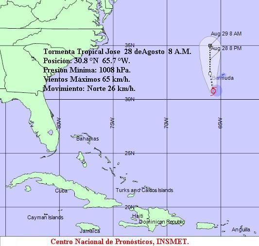 Se forma Tormenta Tropical José en el Atlántico Norte
