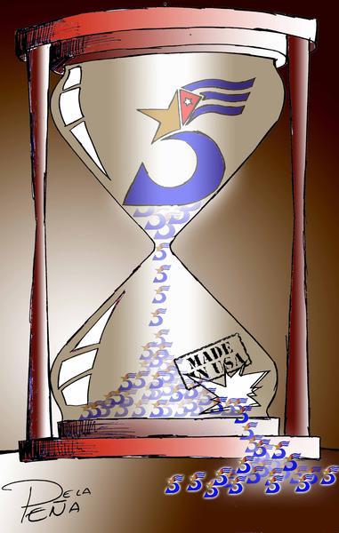 Cartel en reclamo de la libertad de Los Cinco antiterroristas cubanos, prisioneros injustamente en  Estados Unidos, el 12 de septiembre de 2011. AIN CARICATURA/ Yaciel PEÑA DE LA PEÑA