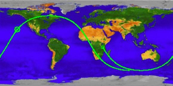 La NASA identificó con un círculo rojo el lugar donde cayó el satélite.
