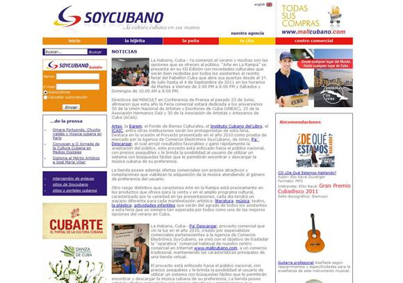 Soycubano emite un Boletín Digital Cultural con frecuencia quincenal en inglés y español, que cuenta con alrededor de 7000 suscriptores en  cada uno de los idiomas. Soycubano emite un Boletín Digital Cultural con frecuencia quincenal en inglés y español, que cuenta con alrededor de 7000 suscriptores en  cada uno de los idiomas.
