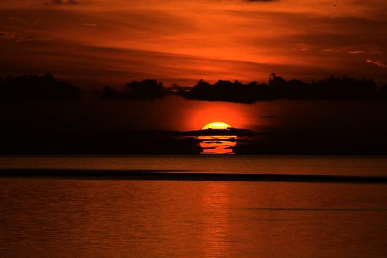 La caída del sol, vista desde la flotilla que acompaña a Diana Nyad.
