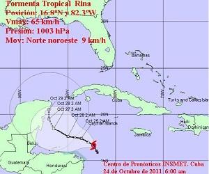 Cono de probabilidades de la tormenta tropical Rina