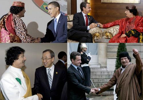 """Gadafi y sus """"amigos""""."""