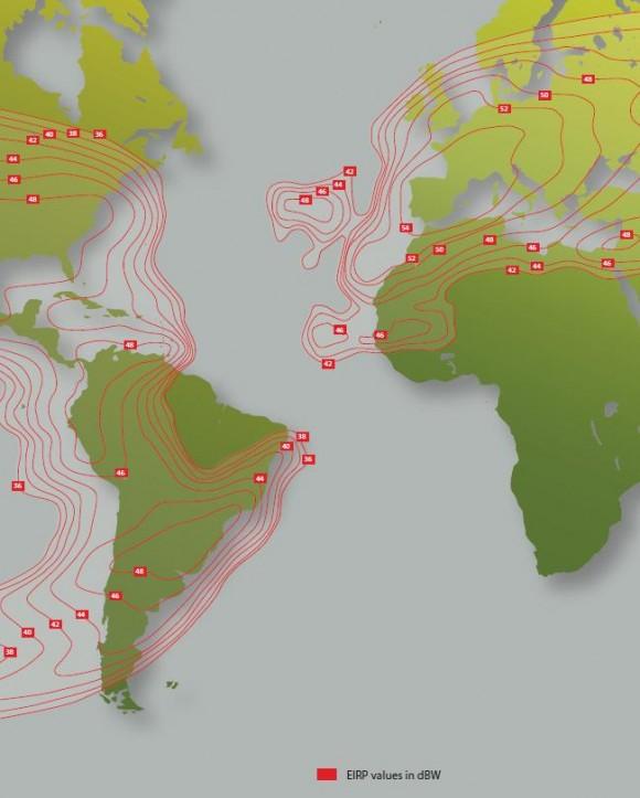 Área de cobertura de Hispasat, el satélite que utilizaría esta empresa para enviar propaganda a Cuba.