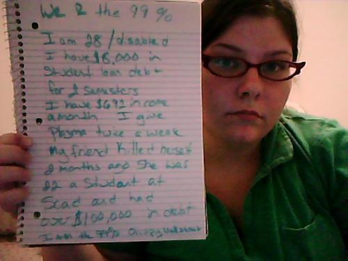 Tengo 28 / soy discapacitada. Tengo una deuda de $ 8.000 por préstamos estudiantiles de 2 semestres Tengo ingresos $ 692 un mes. Necesito plasma dos veces por semana. Mi amigo se suicidó hace 2 meses. Tenía 22 años y era estudiante. Tenía más de 100.000 dólares de deuda