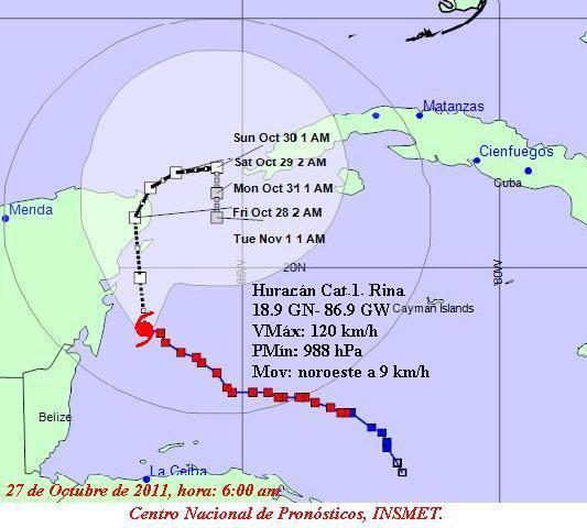 Recorrido del huracán Rina