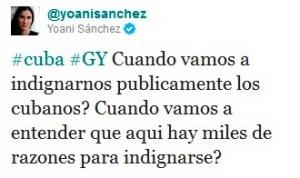 Mensaje publicado en la red social twitter por la bloguera Yoani Sánchez
