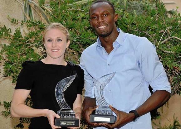 El velocista jamaicano Usain Bolt y la vallista australiana Sally Pearson