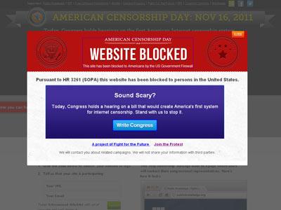 Página de protesta por la iniciativa legislativa que pretende censurar la red.