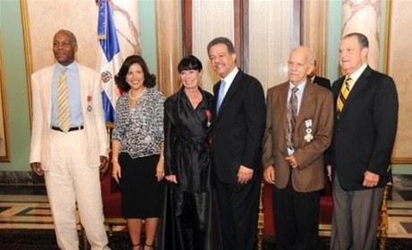 Con Danny Glover, Gerarldine Chaplin y Leonel Fernández