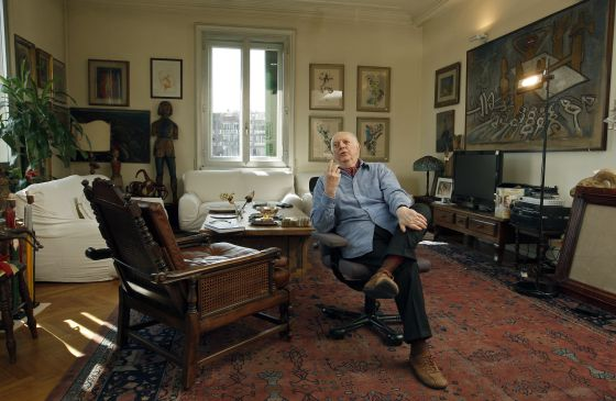 Darío Fo en su casa. Foto: Bernardo Pérez.
