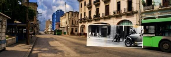 El estudiante Rafael Trejo, segundos antes de ser baleado por el policía con quien forcejeaba, en la manifestación revolucionaria del 30 de septiembre de 1930, en la que fue herido gravemente en la cabeza Pablo de la Torriente Brau.