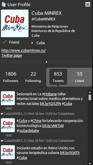 Siga en Twitter a @cubaminrex