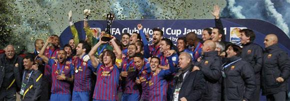 El Barça celebra su victoria en el Mundial de Clubes frente al Santos