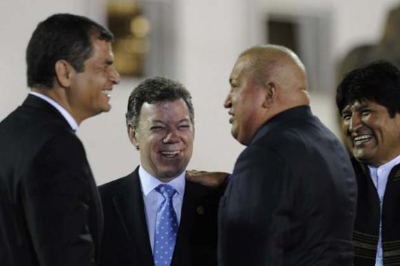 Correa, Santos, Chávez y Evo