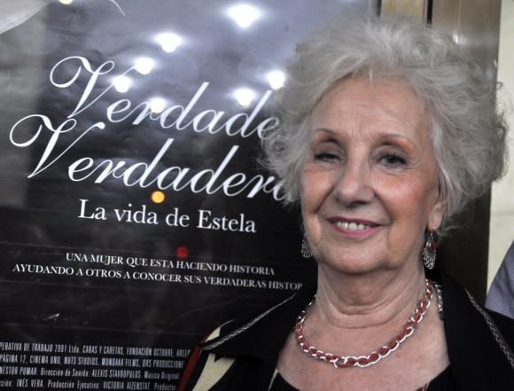 """Estela de Carlotto en la presentación de """"Verdades Verdaderas"""". Foto: Kaloian"""