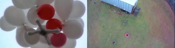 Izquierda: globos transportando una plataforma de anime con una cámara GoPro. Derecha: la imagen capturada por la cámara Papalotes, cometas y papagayos