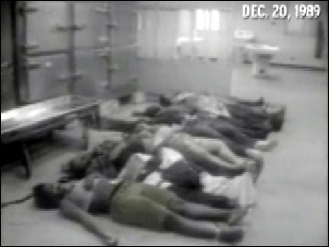 Imágenes de la morgue con personas asesinadas durante la invasión a Panamá. Foto: CBS
