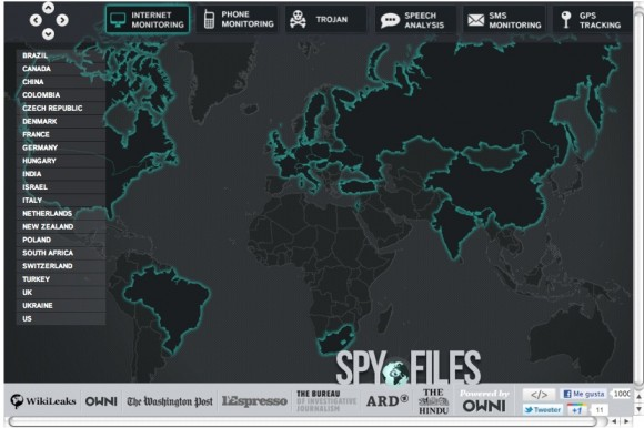 Mapa de Espionaje Mundial de Wikileaks