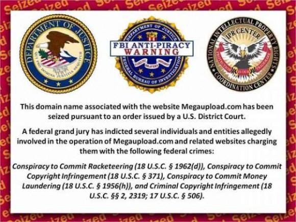 Cuando un propietario intenta acceder a sus fotos, trabajos o documentos personales archivados en Megaupload se encuentra este aviso de una potencia extranjera (si no es súbdito de EEUU)