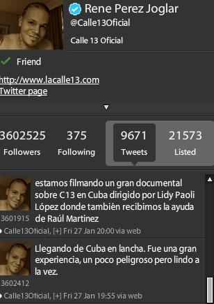 @calle13Oficial, la cuenta en Twitter de René.