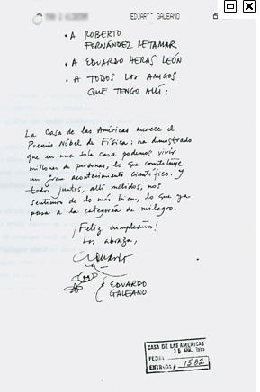 Carta de Galeano a Casa de las Américas.