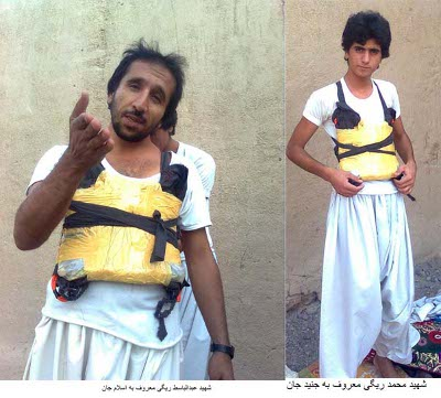 Dos miembros de un comando suicida de Jundallah fotografiados antes del atentado de julio de 2010 contra una mezquita.
