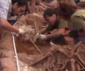 Forenses examinan esqueletos en una fosa común