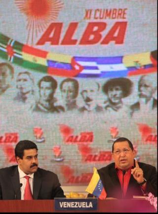 El Canciller Nicolás Maduro y el Presidente Chávez, en la Cumbre. Foto: MINCI