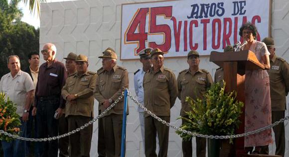 La Teniente Coronel (r), Magalys Sobrado Márquez (D), interviene durante el acto político y ceremonia militar. Foto: Omara García Mederos/AIN